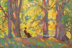 Ion Theodorescu-Sion: Frau im Park (Gemälde, 1919)
