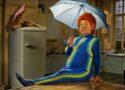 Das Sams sitzt mit Regenschirm auf dem Küchentisch.